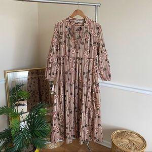 Zara Boho Floral Tiered Long Maxi Prairie Dress M